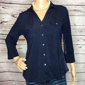 J McLaughlin Navy Blue Button Down Shirt